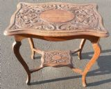 Carved Oak Occasional Table with Fish Decoration